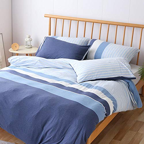 Long Tianzhu cotton four-piece bedding knitted cotton nude sleeping quilt cover-blue_1.5m bed sheetEasy Care And Super Soft Cotton Reversible Design