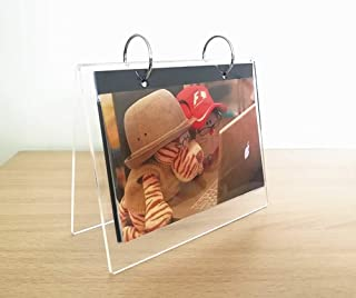 Clear Acrylic Frames 2 Rings Photo Clip 13 Shows 26 Photos Desktop Double Sided Display Holder with Vertical Stand and 4 mm Thicker Menu Holders,Standing Flip Album (