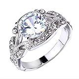 Zhantie Anillo de princesa con diamantes de imitación para mujer, diseño de hoja de árbol, anillo de compromiso con incrustaciones de aleación