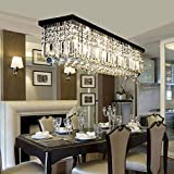 L39.5' X W10' X H10' Modern Raindrop Style Rectangular Chandelier Lighting Clear Crystal Black Finish Base Pendant Hanging Light for Dining Room, Hotel, Office