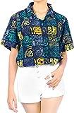 LA LEELA Playa de la Camisa Hawaiana clásica de Vacaciones Aloha Trabajo de Oficina de Vacaciones de Verano de Las Mujeres Azul_AA308 M - ES Tamaño :- 44-46
