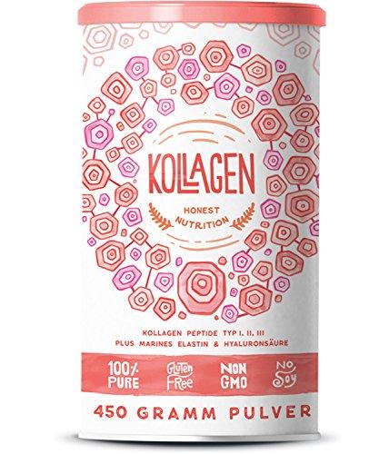 Alpha Foods Collageen | Collageen peptiden type I, II en III | In poedervorm van 450 gram | Bevat 75% collageen, 22% elastine en 3% hyaluronzuur | Uit weidebouw in Duitsland | Vrij van additieven, suiker, lactose en gluten