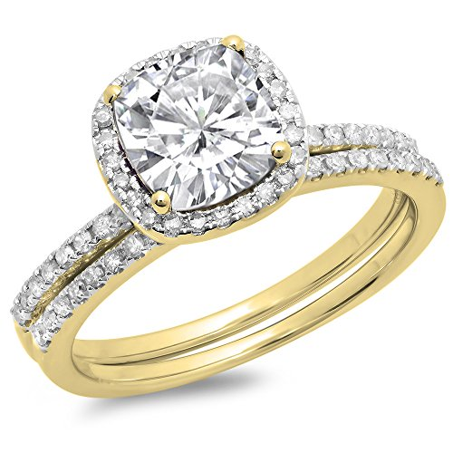 Dazzlingrock Collection 10K White Sapphire & White Diamond Bridal Halo Engagement Ring Set 1 3/4 CT, Yellow Gold, Size 7.5