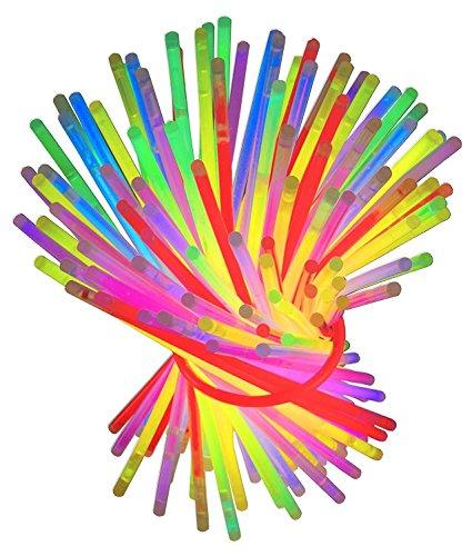Clairty 100 Pezzi Braccialetti Luminosi Fluorescenti Glow Stick,Colori Misti Accessori per Feste Carnevale