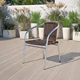 Pack of 4: Make a statement in your space with this aluminum chair with rattan back and seat. A woven sculpted look is elegant and natural fibers convey a casual feel that blends into almost any décor from contemporary or coastal to preppy and ultra ...