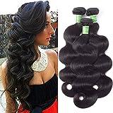 ANNELBEL Brazilian Hair Body Wave 3 Bundles 10 12 14 Inch 8A Unprocessed Virgin Human Hair Weave 100g/Bundle Brazilian Body Wave Hair Bundles Natural Color