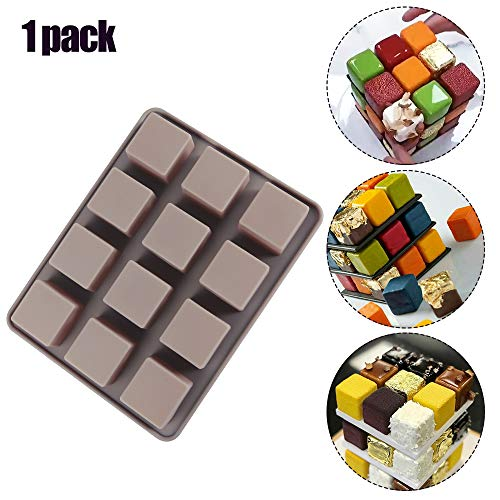 DIFENLUN Silicone Cake Molds, 12-Cavity 3D Squares Non-Stick Chocolate Molds for Brownie, Mini Cake, Truffles, Jelly, Mousse
