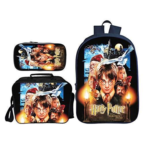 Mochilas De Los Niños para Niños Paquete De Mochila con Estampado De Harry Potter + Bolso Mensajero + Estuche De Lápices A