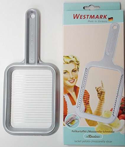 Westmark Pellkartoffel-/Mozzarellaschneider, Retro-Design, Aluminium/Rostfreier Edelstahl, 25,8 x 11,4 x 1,2 cm, Rondex, Grau, 6080RT60