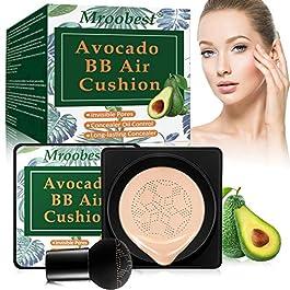 BB Air Cushion, Avocado BB Cream, CC Cream, All-Day Lasting Nude Makeup Foundation, with Mushroom Air Cushion, Even Skin Tone Makeup Base, Easy to Apply, Thin, Moist, for All Skin