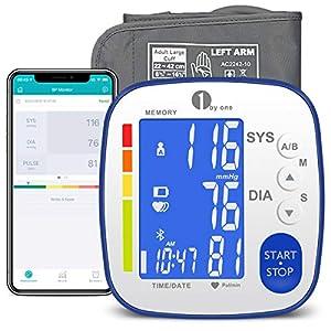 1byone Tensiómetro de Brazo Bluetooth Electrico digital, Tensiometro Bluetooth, Tensiometro Brazo Bluetooth, Monitor de presión arterial, 2 × 250 juegos de memoria