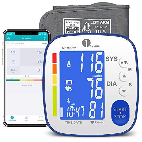 1byone Blutdruckmessgerät Oberarm mit Bluetooth, Oberarm Blutdruckmessgerät, großer Manschette, 2 * 250 Sätze Speicher, LCD Hintergrundbeleuchtung