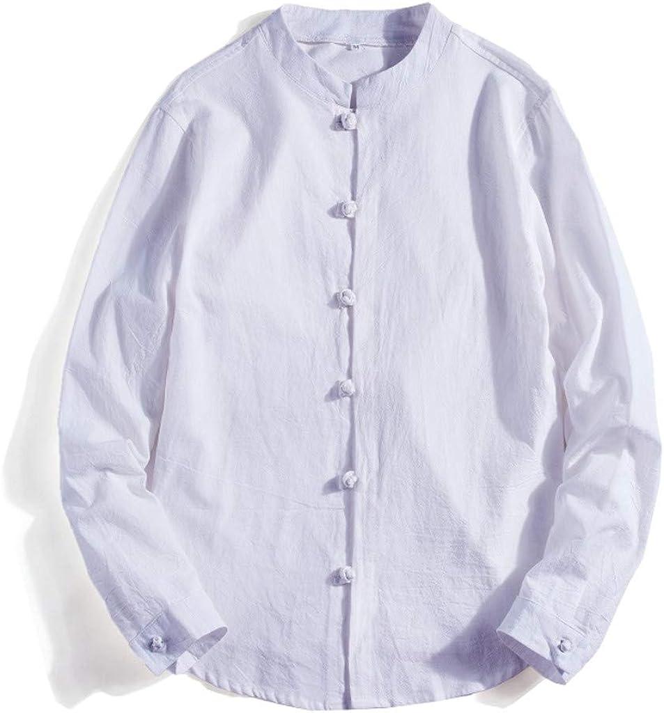 MODOQO Men's Button Down Shirt, Loose Fit Cotton and Linen Long Sleeve Shirt, Casual Lapel Shirt for Summer