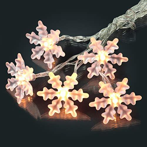 HELLUM 566109 LED-Schneeflockenkette 10 warm-weiße LEDs, inkl. Saughaken, 1,85 m Gesamtlänge