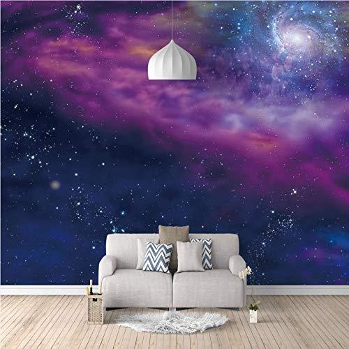 Tapete Betonoptik Vliestapete Lila Milchstraße Galaxie 250X175Cm 3D Vlies Fototapete Wandbild Wandbilder Wohnzimmer Fernseher Sofa Hintergrund Tapete Moderne Wohnkultur