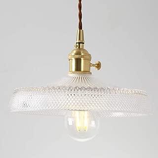 IJ INJUICY Nordic Glass Brass Chandelier Retro Lotus Umbrella Pendant Hanging Light for Restaurant Porch Bedroom Home Entrance Clothing Tea Shop Dining Room Bar Kitchen Hall Balcony (D)