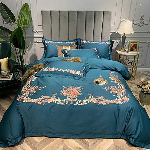 fangfei 60 langstapelige, vierteilige Bettwäsche aus Baumwolle mit Stickdecken