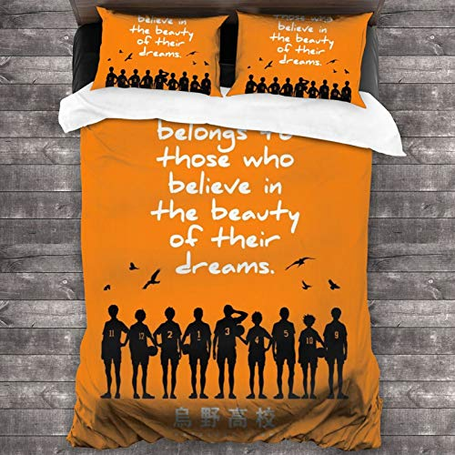 Popular Anime Haikyu!! Teams Shouyou 3-Piece Bedding Set 1 Quilt Cover with 2 Pillowcases Microfiber All-Season Super Soft Lightweight Cozy Home Decor for Adults Kids 86x70