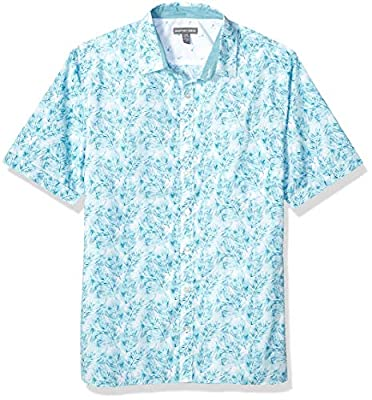Geoffrey Beene Men's Big and Tall Easy Care Short Sleeve Button Down Shirt, Seaport, 3X-Large Tall