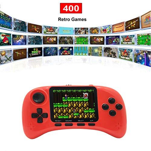 Lychee Handheld Konsole Retro, Handheld Spielkonsole,Mit 400 Klassische Spielen ,3-Zoll-LCD Bildschirm,Videospielkonsole Unterstützt das Anschließen an den TV-Anschluss,Für Kinder/Erwachsene (Rot)