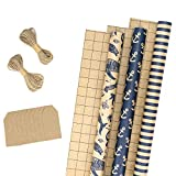 RUSPEPA Wrapping Paper Rolls with Tags, Jute String - 17 inches x 10 feet per Roll, Total of 3 Rolls, Navy Blue