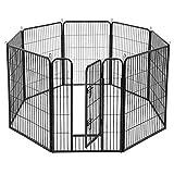FEANDREA Parque para Mascotas de 8 Paneles, Jaula para Perros de Alta Resistencia, 77 x 100 cm, Negro PPK81H