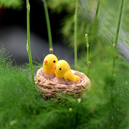 Quanjucheer 2 pcs/lot Micro Paysage Jardin balcon Bonsai plantes artificielles Mini jardin DIY Décor, Miniature Oiseaux multicolore