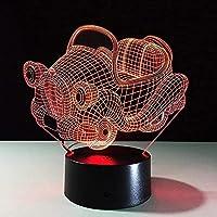 3DレトロスイングカーナイトライトLEDオプティカルピッシュランプ16色変更テーブルデスクランプリビングルームキッズ寝室ホーム装飾誕生日おもちゃ