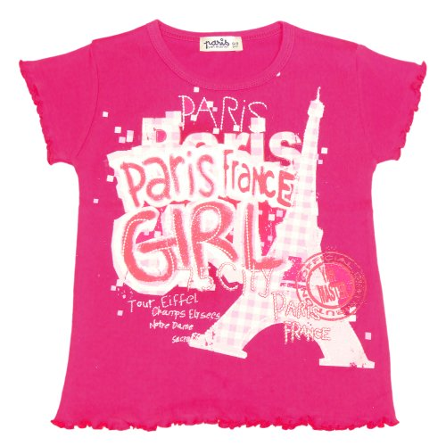 T-Shirt Fille Paris 'Vichy' - Rose (2-4 Ans)