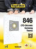 TopFilter 846, 4 sacs aspirateur pour Samsung, Taurus, CTC-Clatronic boîte de sacs d'aspiration en non-tissé, 4 sacs à poussière (30 x 26 x 0,1 cm)