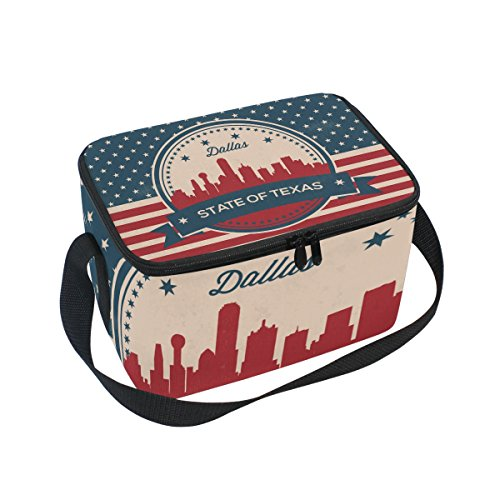 Vintage American Flag Texas State Dallas Skyline Insulated Lunch Bag Box Cooler Bag Reusable Tote Bag Outdoor Travel Picnic Bags