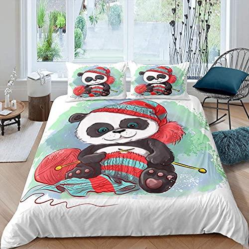 Funda Nordica 240x260 Panda de Color Blanco Suave Microfibra Colchas Cama con 2 Fundas de Almohada 80x80 y Cremallera Resistente Correa Fija Juveniles Infantil Niña