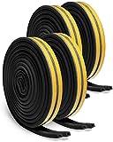 Vidence 4 pack black Burlete de goma autoadhesiva para puertas y ventanas, anticolisión, tipo D, espuma EPDM, insonorización, 4 unidades, 8 sellos, total 24 m, color negro