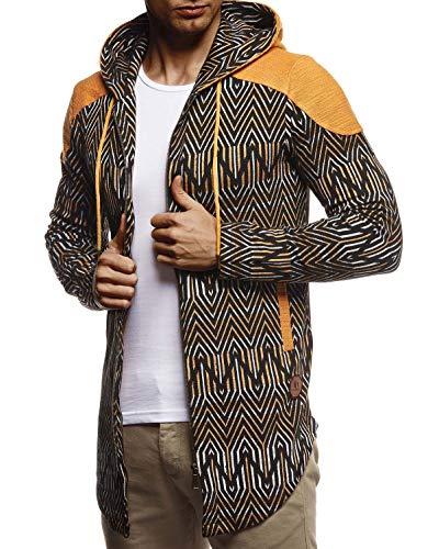 Leif Nelson Herren Sweatjacke Lange Freizeitjacke mit Kapuze Schwarze Übergangsjacke Basic Hoodie für Männer Kapuzenjacke Sweater Camel Large
