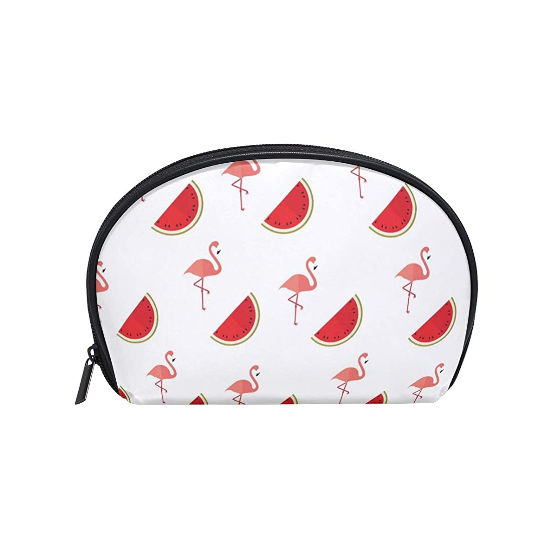 ビーチギャラントリー湿った半月型 スイカフルーツフラミンゴ 化粧ポーチ コスメポーチ コスメバッグ メイクポーチ 大容量 旅行 小物入れ