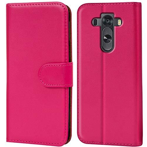 Verco G3S Hülle, Handyhülle für LG G3 S Tasche PU Leder Flip Hülle Brieftasche - Pink