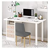 Erwazi Desk with Drawer, Computer Desk Desk with Storage Laptop Workstation, Study Writing Table Furniture with Drawers for Home Office (White)