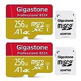 Gigastone Lot de 2 Carte micro SD XC 256 Go UHS-I U3 A1 4K avec Adaptateur SD. Vitesse de lecture allant jusqu'à 95 Mo/s. Compatible avec Nintendo Dashcam GoPro Caméra Samsung Canon Nikon DJI Drone