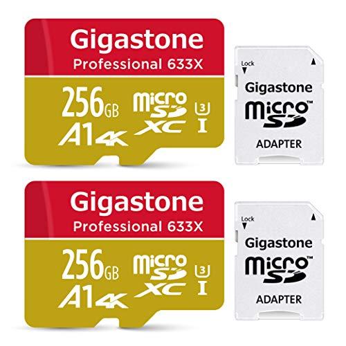 Gigastone Primaria Tarjeta de Memoria Micro SDXC de 256GB con Adaptador SD, (Clase 10, U1,A1,4K,2 Paquetes). Velocidad de Lectura/Escritura Rendimiento hasta 95/50 MB/s.