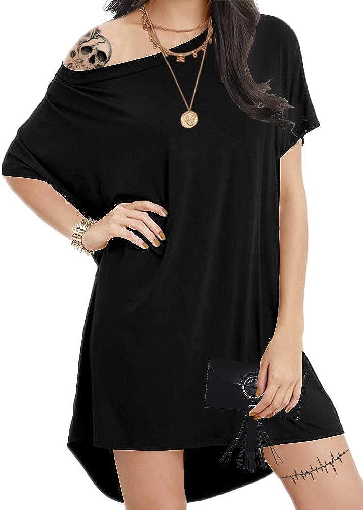 Aksbgg Women's Plus Size Loose T Shirt Home Dress Short Sleeve Casual Mini Dresses Tops Tunics