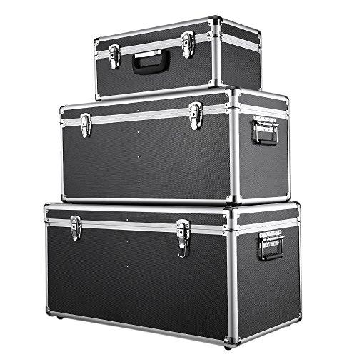 IKAYAA Juego de 3 Piezas Cajas de Almacenaje Aluminio con Cierre y Mango Multiusos Negro