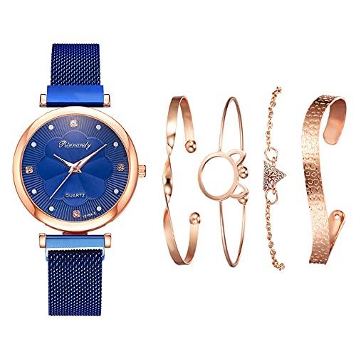 qwert Reloj de Cuarzo para Mujer Reloj analógico para Mujer con Correa de cerámica Reloj de Moda para Mujer Reloj de Pulsera para Mujer,Azul
