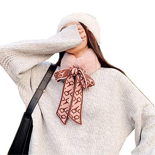 JOMSK Bufanda Caliente Bufanda de Lana Hembra Invierno pequeño Babero de Lana de Lana de Lana de Lana Invierno Largo Mullido Collar (Color : Pink, Size : 150x5cm)