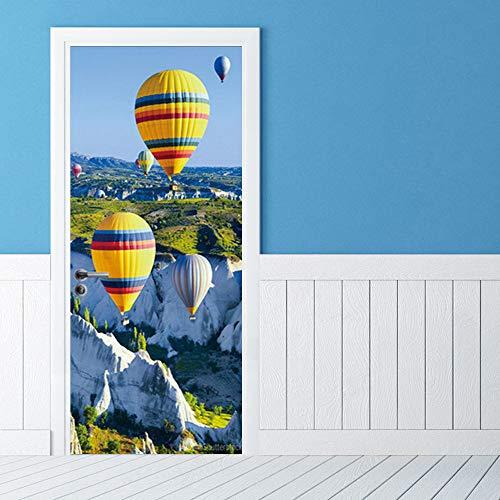 WGSJA 3d driedimensionale deur stickers deur schilderij muur schilderij zelfklevende hete lucht ballon verwijderbare waterdichte muur stickers slaapkamer woonkamer DIY behang