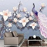 Papel tapiz fotográfico con Mural de pavo real Magnolia en relieve 3D para sala de estar 3D, TV, sofá, Fondo, pared, tela, Fresco