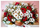 Pintura por números para niños Edades 8-12 - Pinta por números para Adultos Principiante DIY Lienzo con 3 Pinceles de Pintura Decoración de Pared de la casa Navidad-White Flower (Size : 40x50cm)