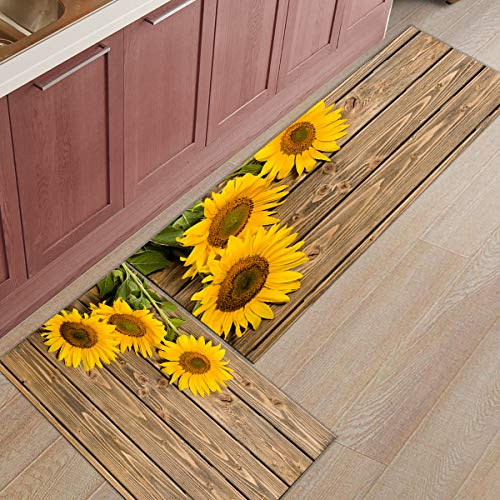 Fantasy Staring Kitchen Rugs Sets 2 Piece Floor Mats 3 Sunflower on The Wooden Table Doormat Non-Slip Rubber Backing Area Rugs Washable Carpet Inside Door Mat Pad Sets (19.7