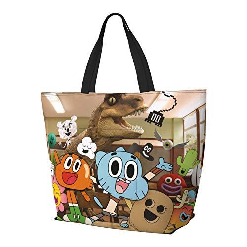 Bolsa de goma de dibujos animados Amazing World con asa de hombro, estilo simplicidad, gran capacidad, bolsa de compras, gimnasio, playa, viajes, diario, unisex, plegable