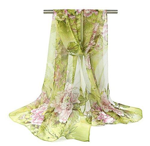 Demarkt chiffonsjaal chiffon stola sjaal zijden sjaal dames halsdoek omslagdoek loop slangsjaal pioenroos bloemen patroon grijs