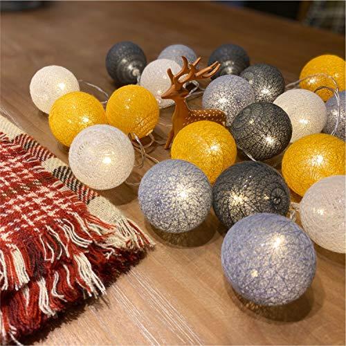 Guirlande lumineuse LED blanche de Noël - Guirlande lumineuse étoilée - Pour mariage, fête, décoration de Noël - 3,1 m - 20 boules de coton (Happy Orange, piles)